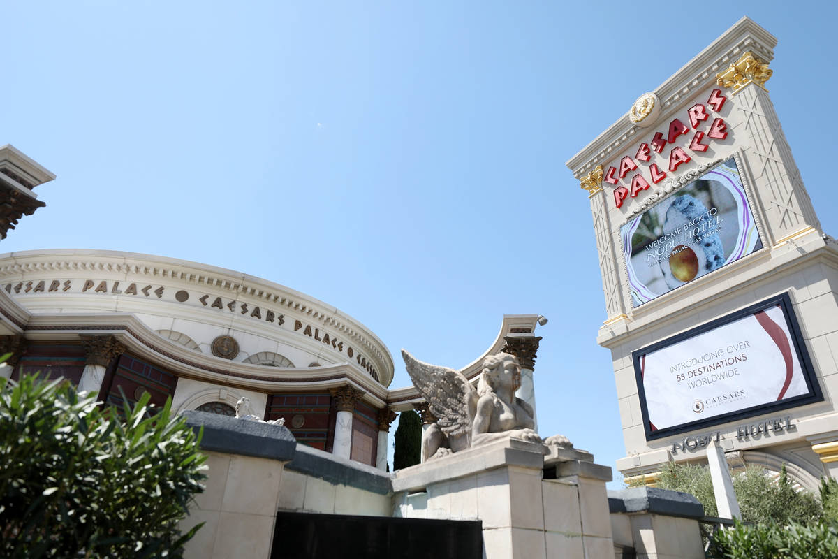 Caesars Palace hotel and casino is seen on the Las Vegas Strip, Thursday, Aug. 6, 2020, in Las ...