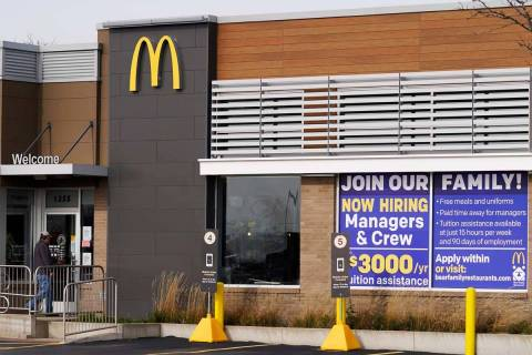 In this Nov. 19, 2020, file photo, a hiring sign is displayed outside of McDonald's in Buffalo ...