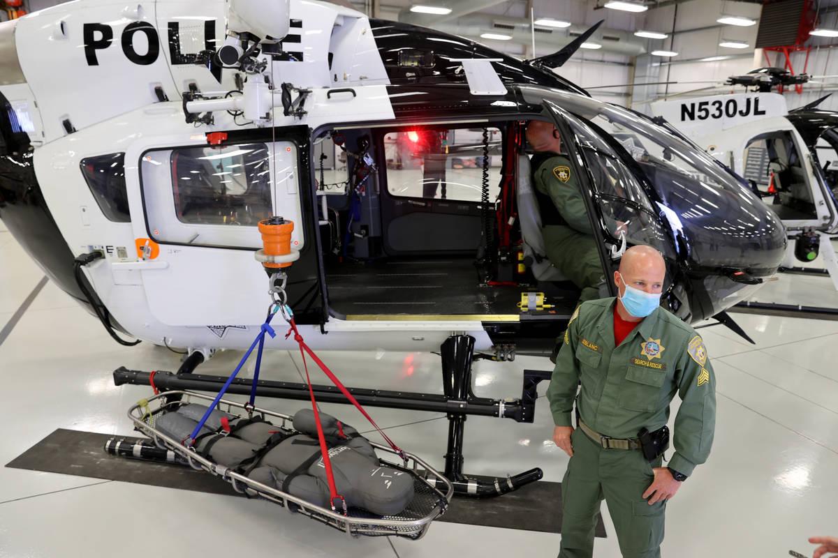 Las Vegas police Sgt. Chris LeBlanc talks to the news media about life saving tips and consider ...