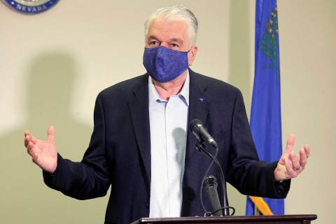 In this Oct. 2, 2020, file photo, Nevada Gov. Steve Sisolak speaks during a news conference at ...