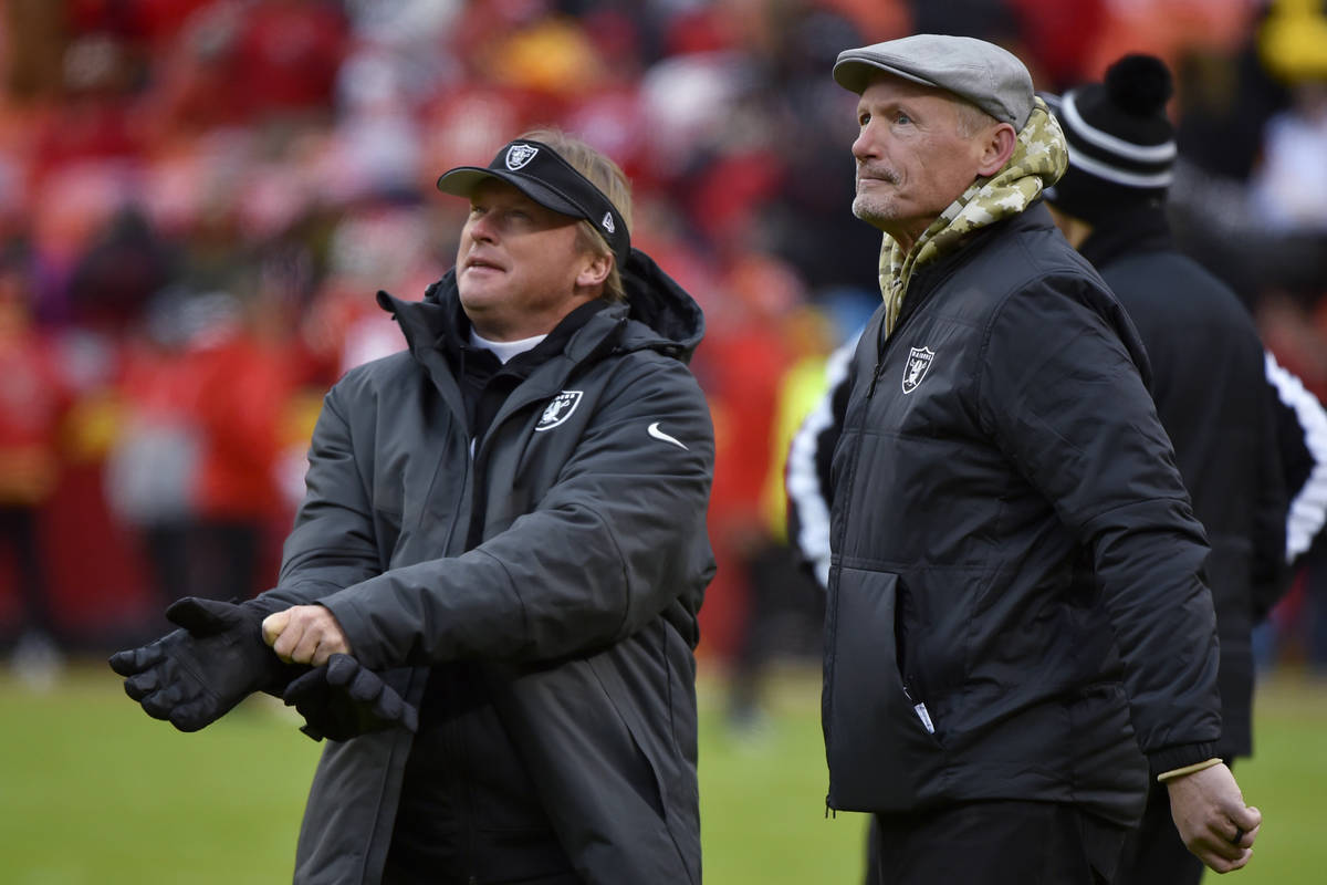 FILE - In this Dec. 1, 2019, file photo, Oakland Raiders general manager Mike Mayock stands wit ...