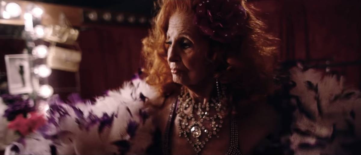 "A screen capture of the late burlesque legend Tempest Storm is shown in the video for the ""lost ..."