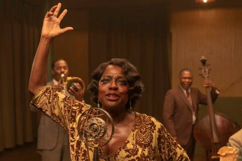 This image released by Netflix shows Chadwick Boseman, from left, Colman Domingo, Viola Davis, ...