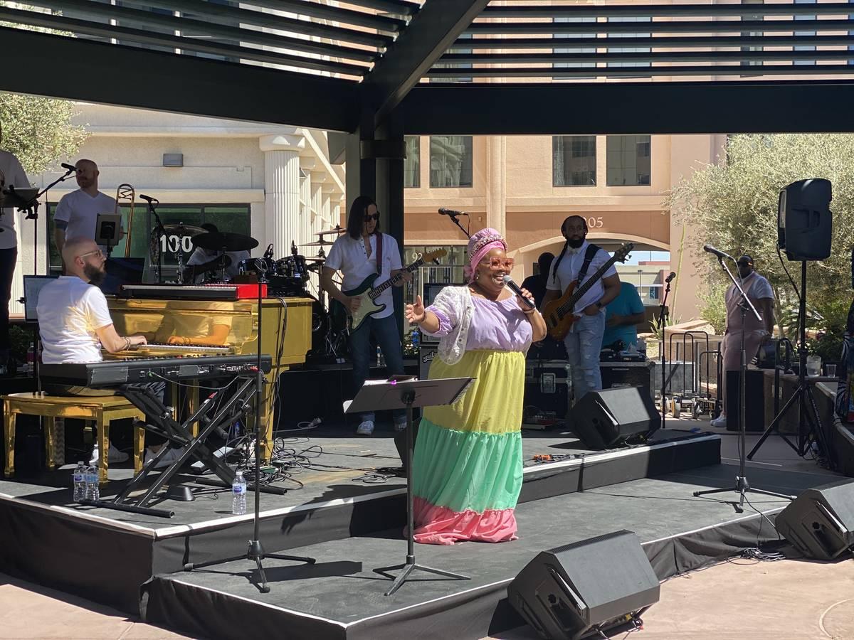Skye Dee Miles performs at Gospel Brunch at DW Bistro on Sunday, April 4, 2021. (John Katsilome ...