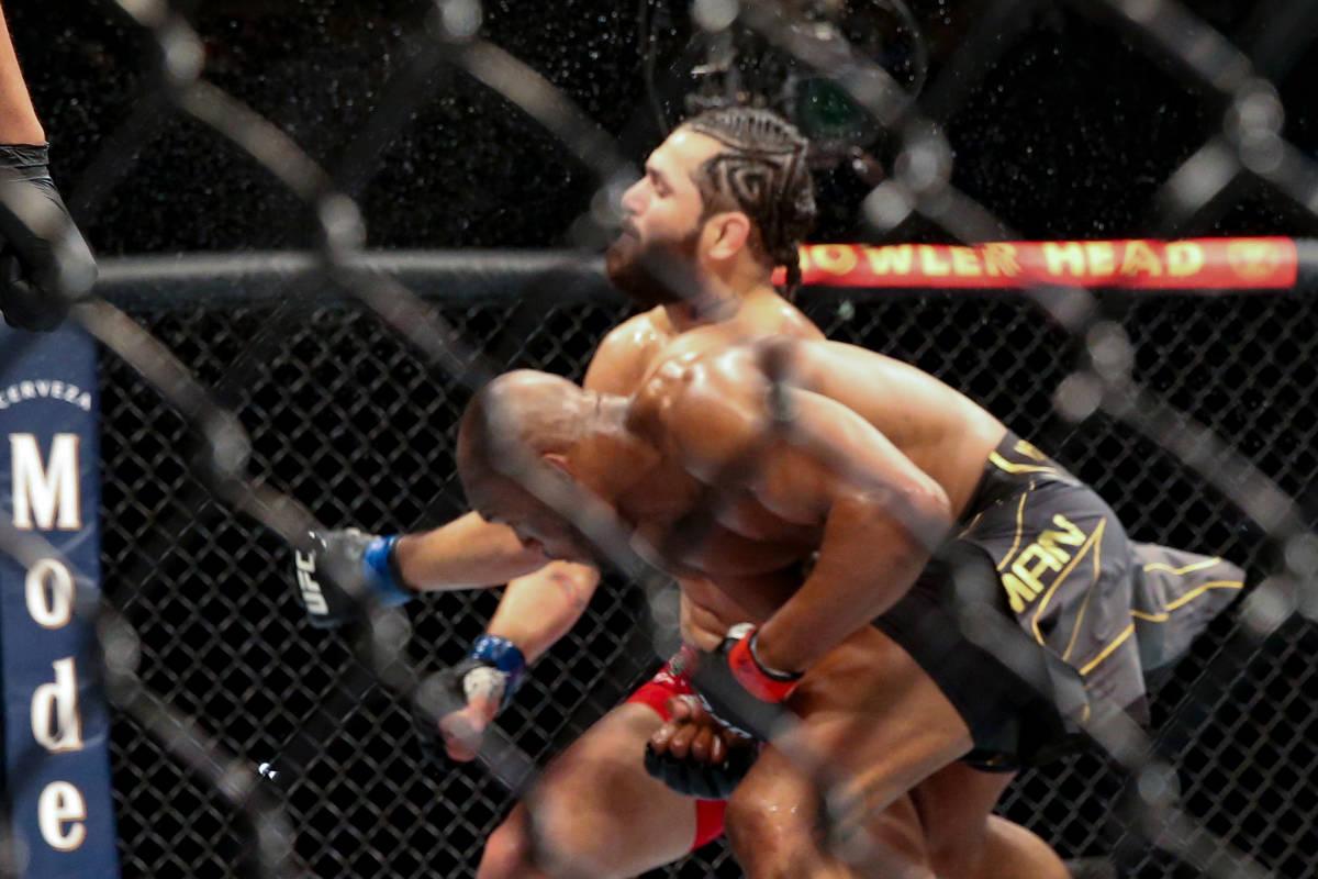 Kamaru Usman knocks out Jorge Masvidal during a UFC 261 mixed martial arts bout early Sunday, A ...