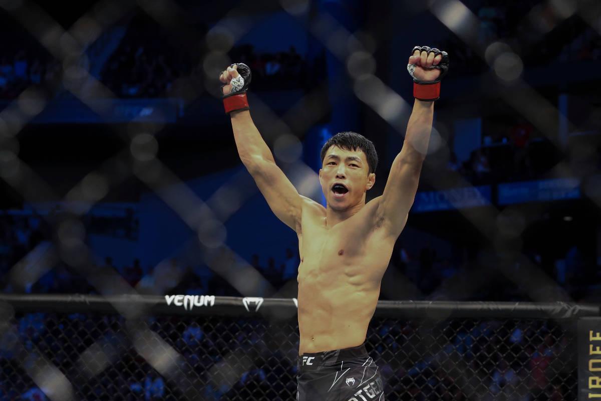 Danaa Batgerel celebrates his win of a UFC 261 mixed martial arts bout, Saturday, April 24, 202 ...