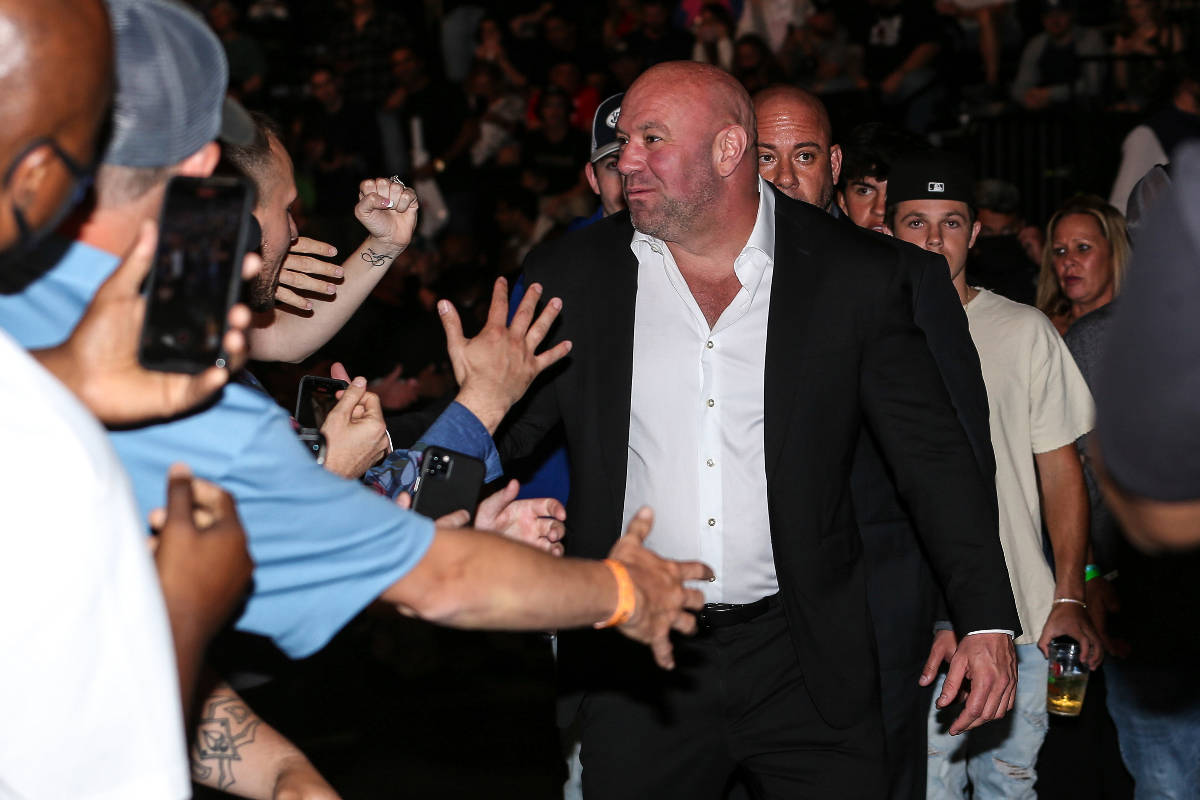 Dana White, president of the Ultimate Fighting Championship, greets fans during a UFC 261 mixed ...