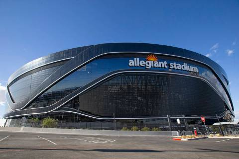 Allegiant Stadium is seen on Saturday, Dec. 12, 2020, in Las Vegas. (Ellen Schmidt/Las Vegas Re ...