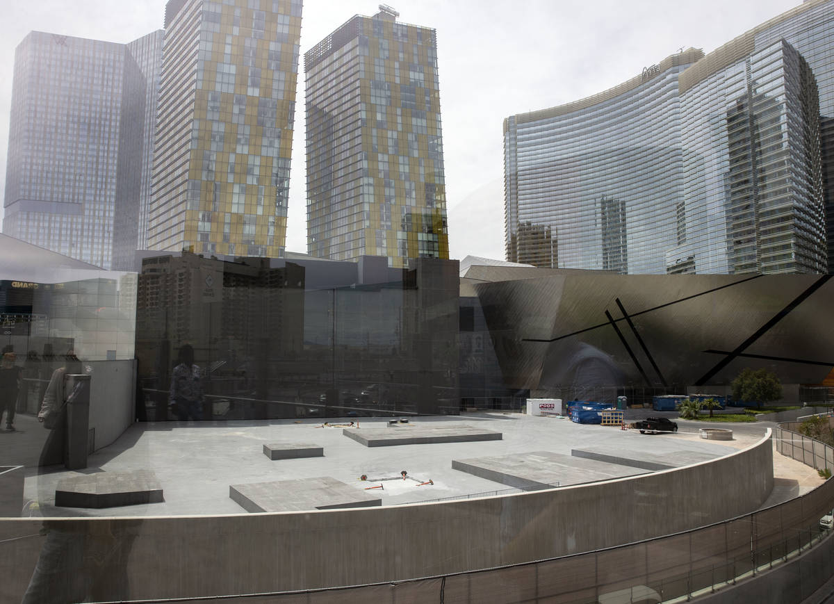 Veer Towers, left, two condominium towers within CityCenter and the Aria hotel-casino are seen ...