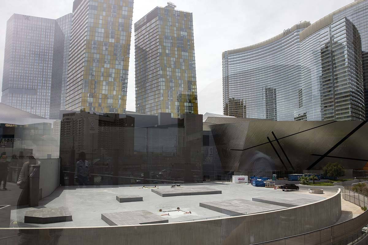 Veer Towers, left, two condominium towers, and Aria located, both a part of CityCenter, are see ...