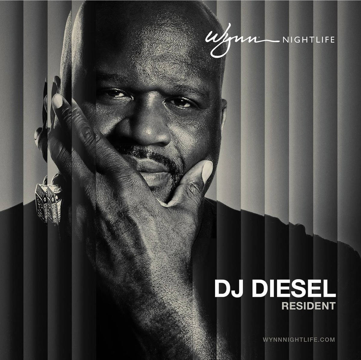 Shaquille O'Neal, aka DJ Diesel, is shown on a Wynn Nightlife post announcing his residency at ...
