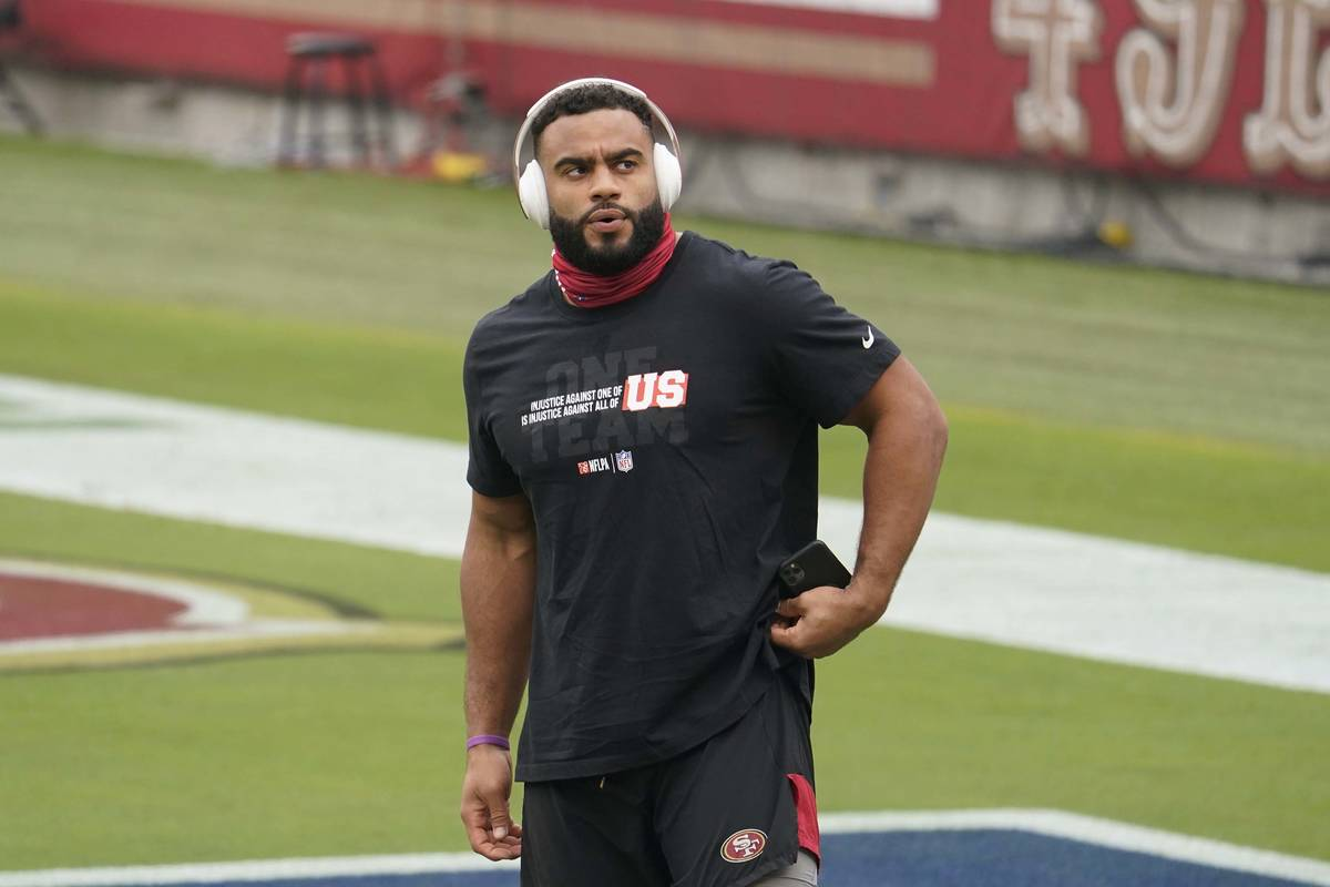 San Francisco 49ers defensive end Solomon Thomas wears a shirt for social justice before an NFL ...
