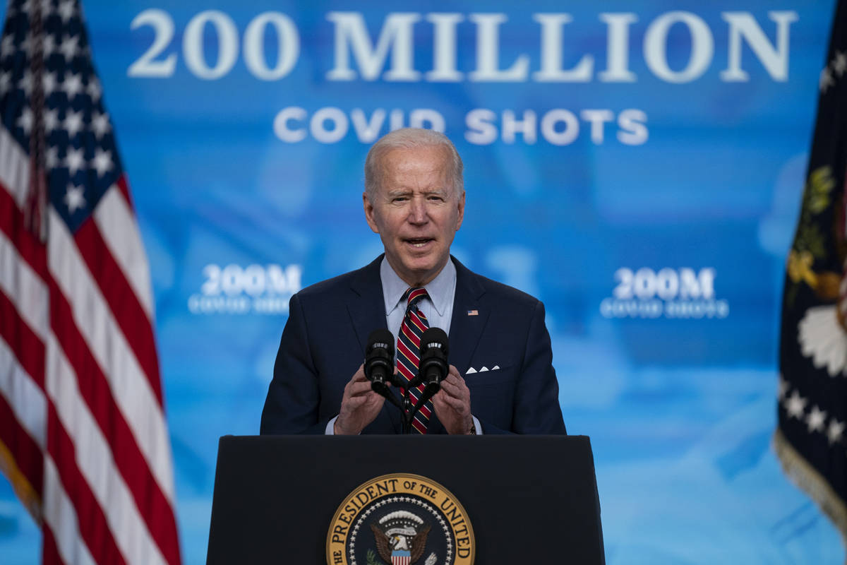 In this April 21, 2021, file photo, President Joe Biden speaks about COVID-19 vaccinations at t ...