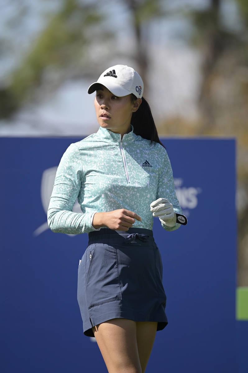Danielle Kang waits to hit her tee shot on the fourth hole during the final round of the Tourna ...