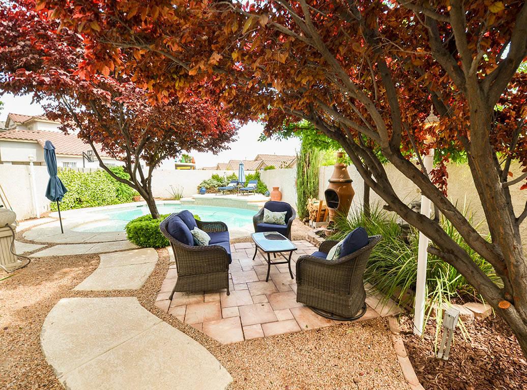 The patio at 913 Drumgooley Court, North Las Vegas. (Lana Bradley)