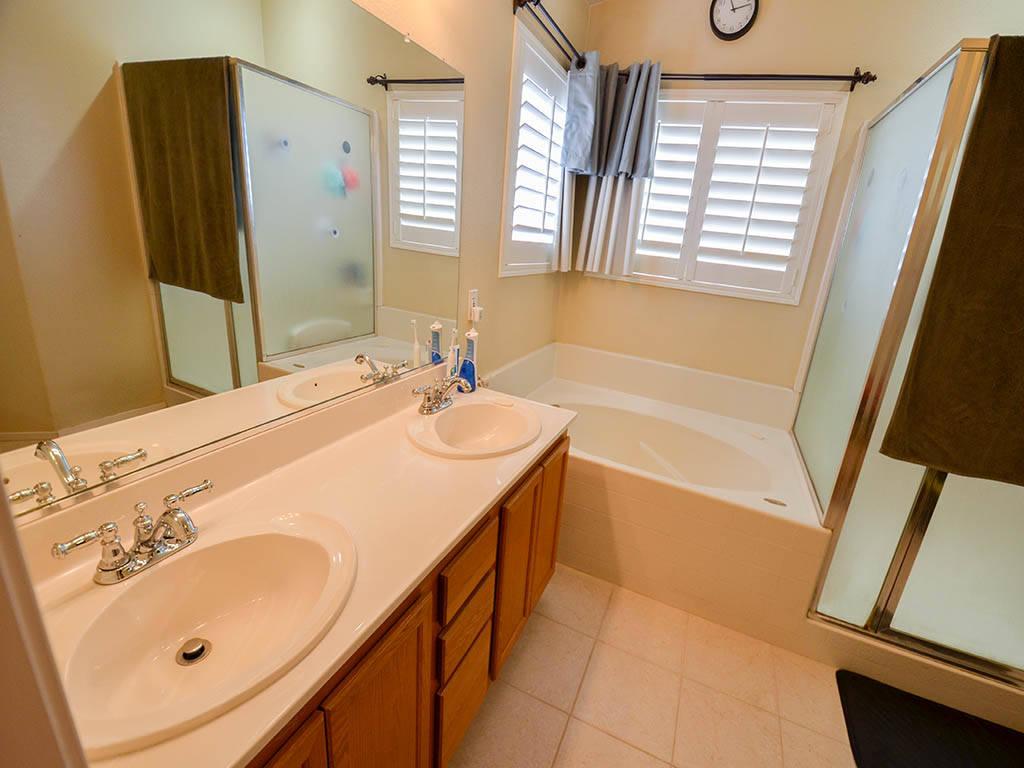 A bathroom at 913 Drumgooley Court, North Las Vegas. (Lana Bradley)