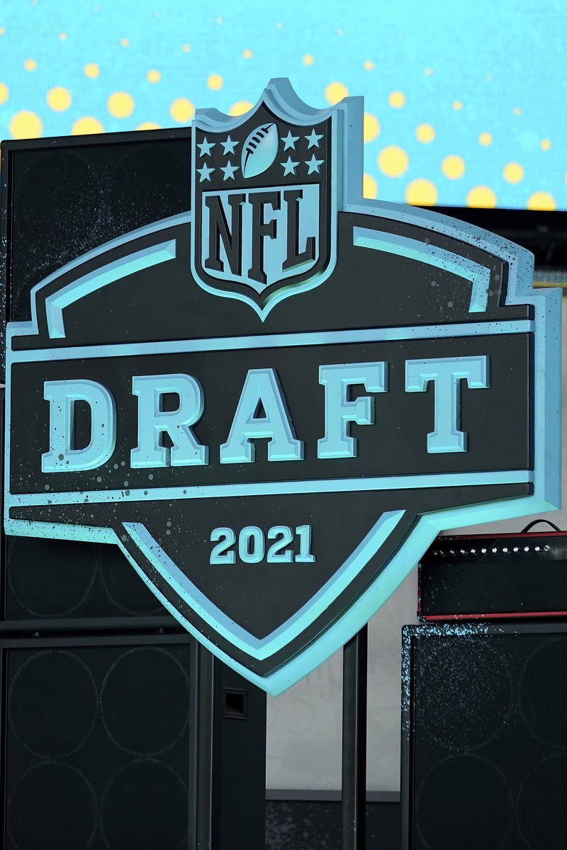 A general view of the 2021 NFL Draft logo, Tuesday, April 27, 2021, in Cleveland. The 2021 NFL ...