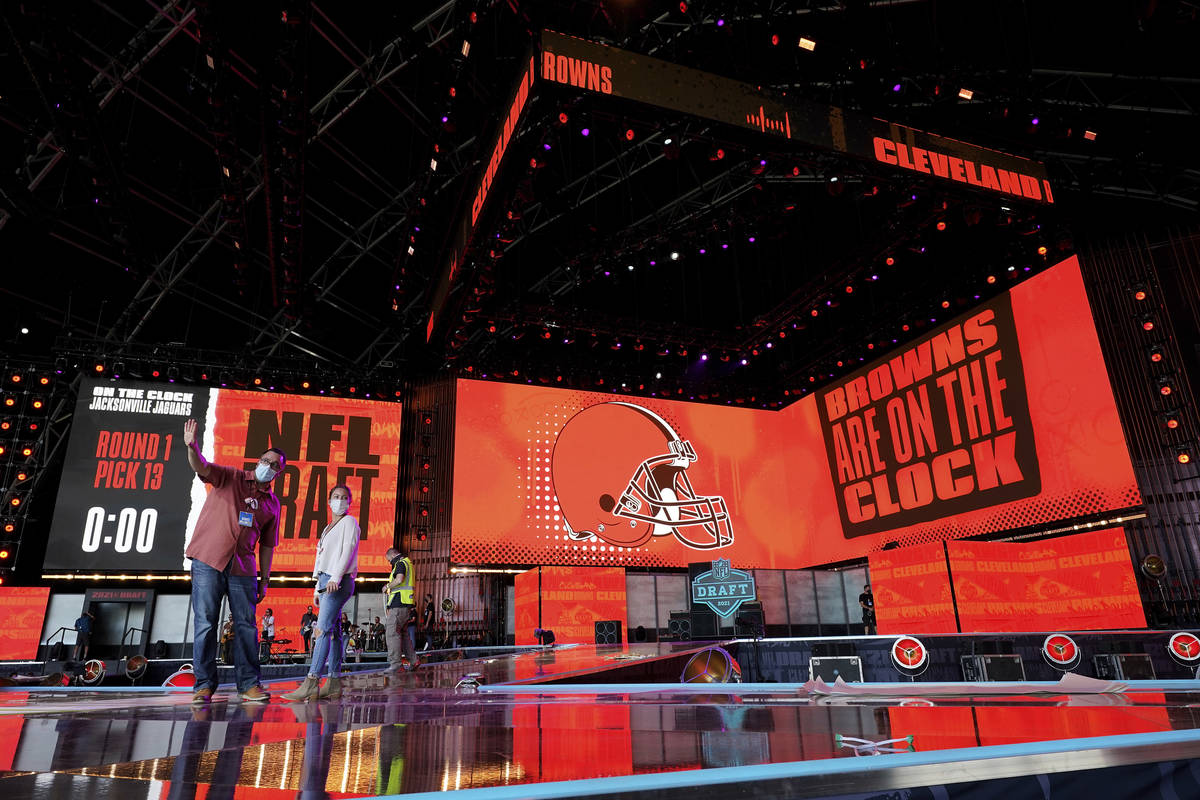Workers prepare the NFL Draft Theatre, Tuesday, April 27, 2021, in Cleveland. The 2021 NFL Draf ...