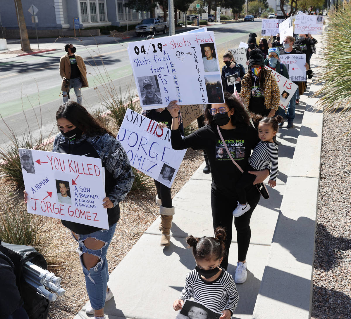 Protesters during a march for Jorge Gomez, a Black Lives Matter protester who was shot and kill ...