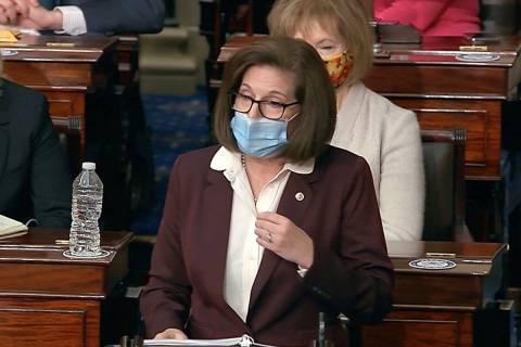 Sen. Catherine Cortez Masto, D-Nev., speaks in January 2021. (Senate Television via AP)