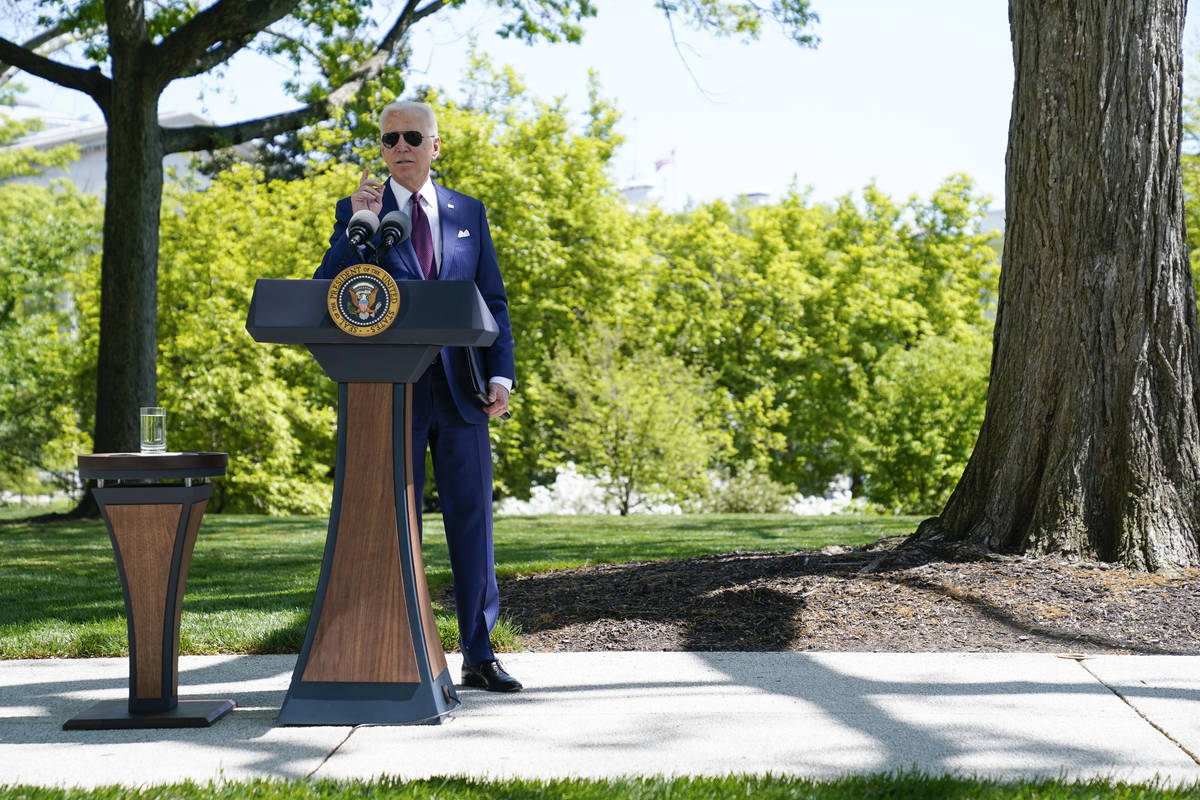 President Joe Biden answers questions from members of the media about COVID-19, on the North La ...