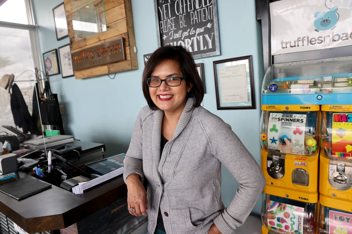 Magnolia Magat, owner of Truffles N Bacon Cafe, at her Las Vegas restaurant Tuesday, April 27, ...