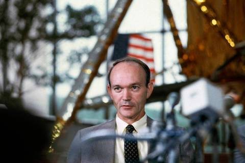 FILE - In this July 19, 1979 file photo, Apollo 11 astronaut Michael Collins attends a news con ...