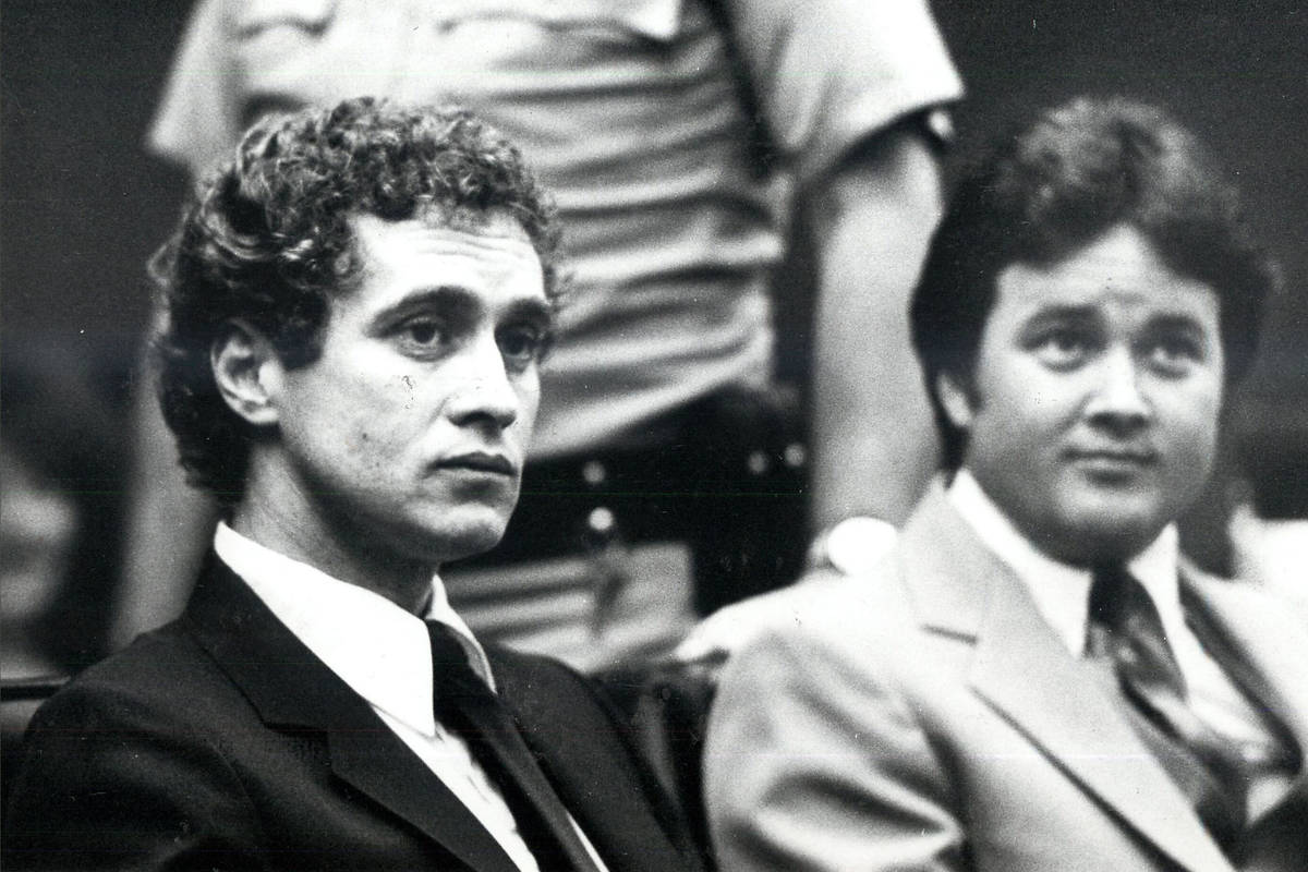 This 1982 file photo shows Pat McKenna, left, known as Nevada's most dangerous inmate, with his ...