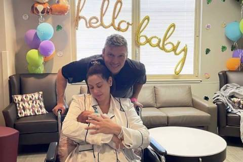 Nick Carter and Lauren Kitt Carter are shown with their new daughter at Southern Hills Hospital ...