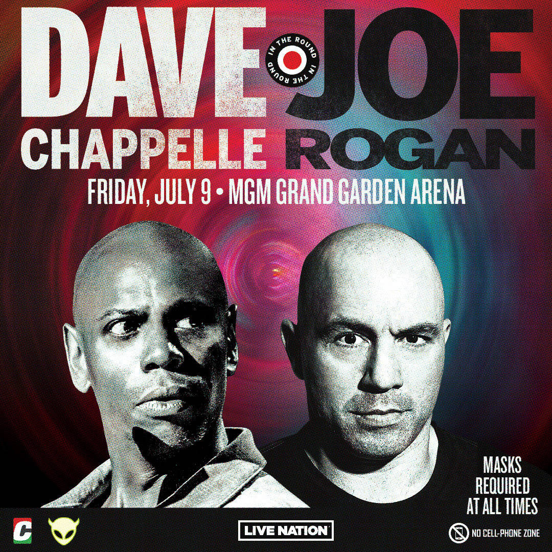 Promotional image of the Dave Chappelle-Joe Rogan headlining show scheduled for MGM Grand Garde ...