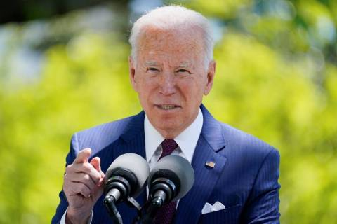 President Joe Biden speaks about COVID-19, on the North Lawn of the White House, Tuesday, April ...