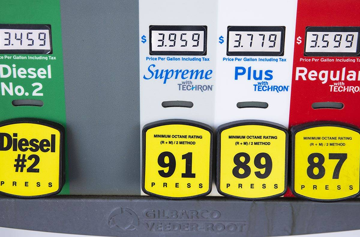 Gas and diesel prices are displayed at Chevron on Tropicana Avenue, on Wednesday, April 21, 202 ...