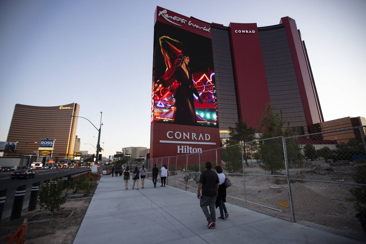 Resorts World Las Vegas is seen in Las Vegas, Friday, April 23, 2021. (Erik Verduzco / Las Vega ...