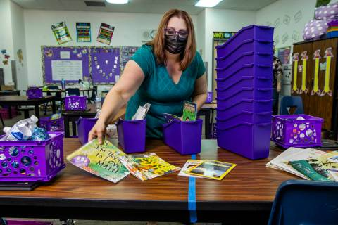 Long STEAM Academy teacher Shana Prue just received several boxes of school supplies and unpack ...