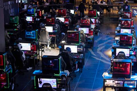 """Players compete during the Fortnite tournament """"Friday Night Frags"""" at the HyperX Esp ..."""