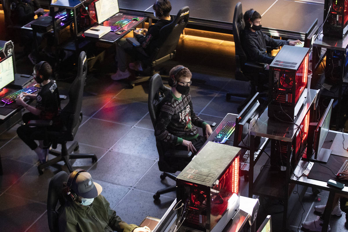 """Players including Ryan Bourassa, 33, play during the Fortnite tournament """"Friday Night Fra ..."""