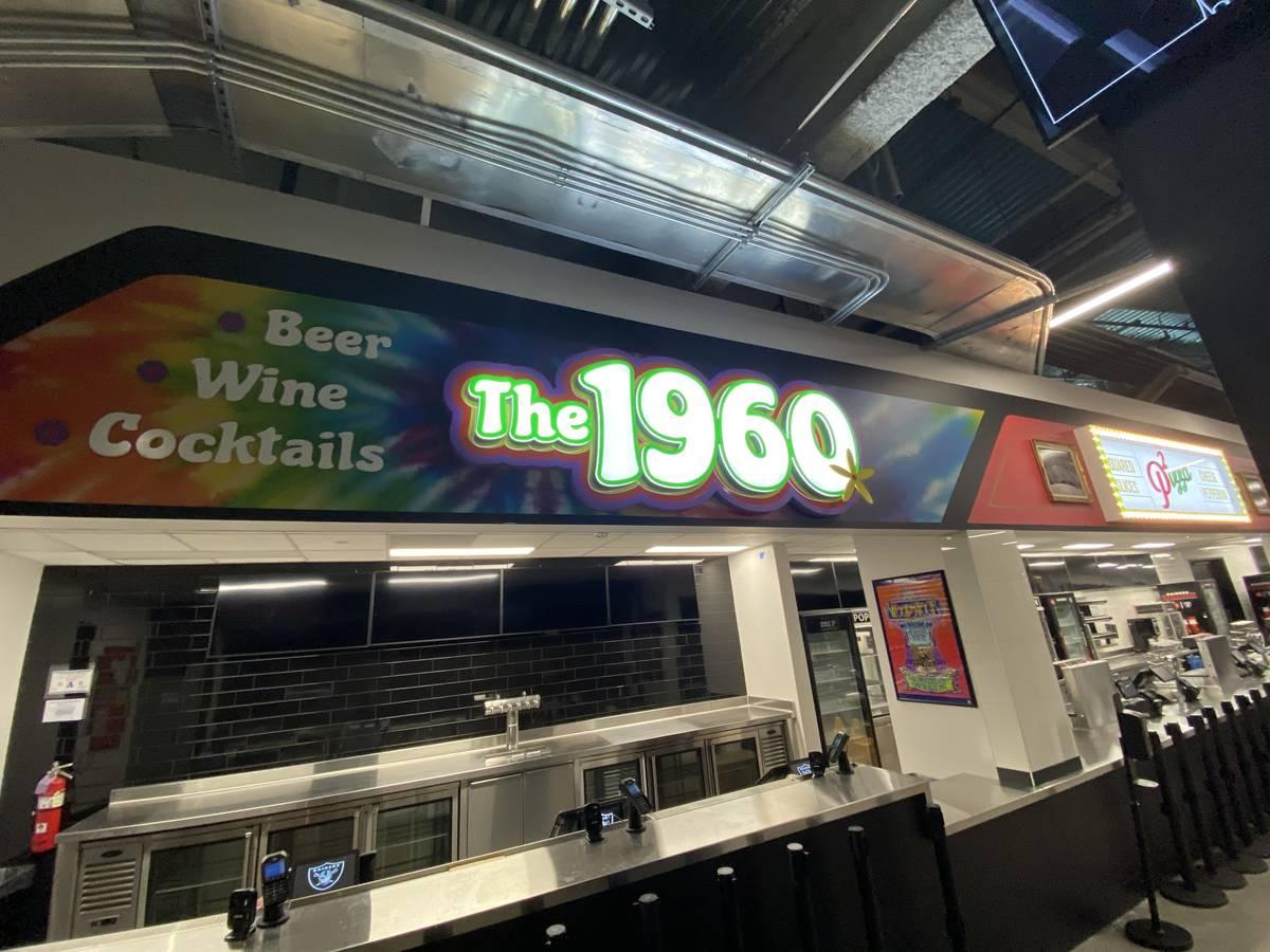 The 1960 bar at Allegiant Stadium is shown on Thursday, April 29, 2021. (John Katsilometes/Las ...