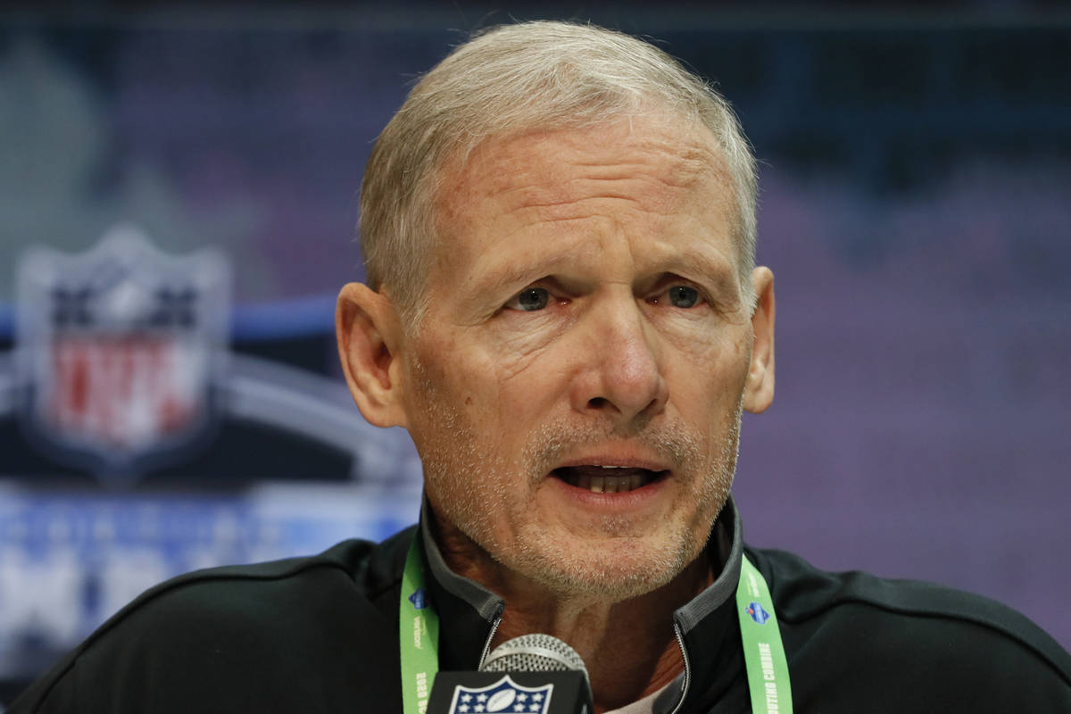 Las Vegas Raiders general manager Mike Mayock speaks during a press conference at the NFL footb ...