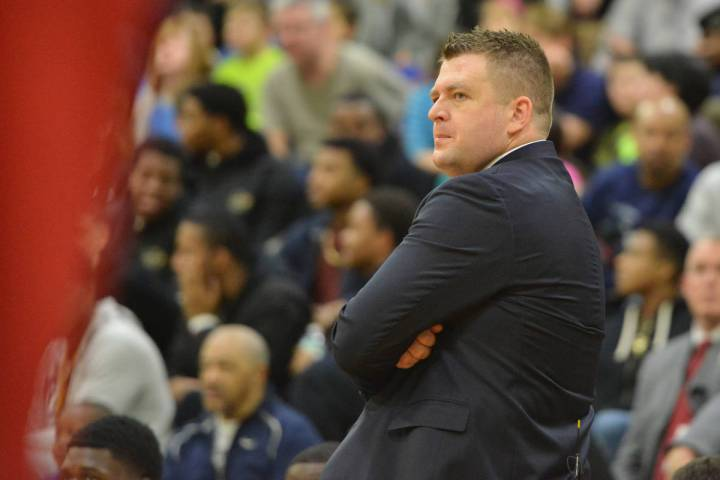 Findlay Prep Pilots head coach Andy Johnson walks the sideline during the second round game bet ...