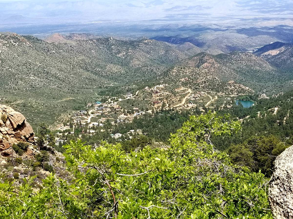 Pine Lake can be seen in this view from the Potato Patch Loop in Hualapai Mountain Park.