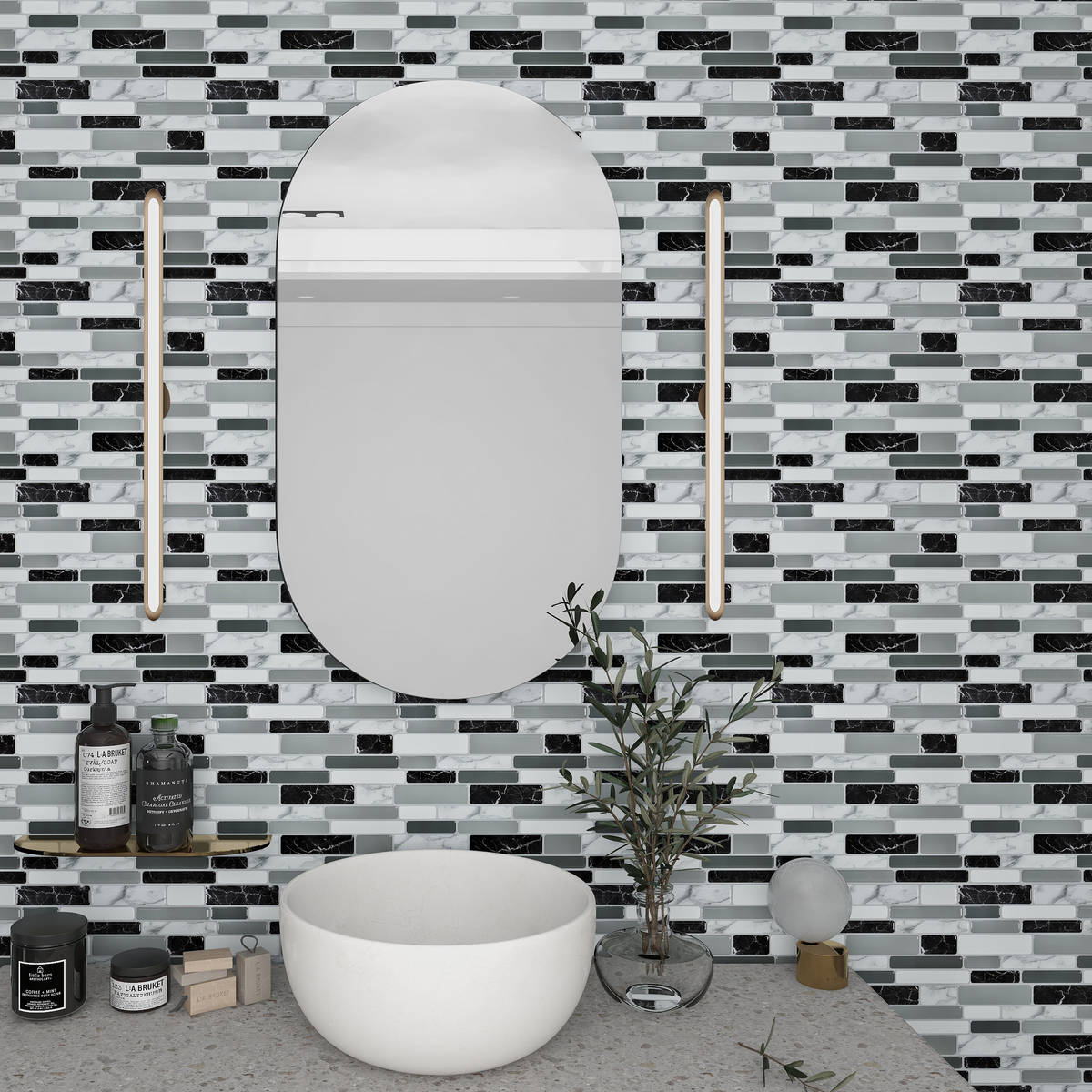 Art3d peel-and-stick tiles are bacteria- and mold-resistant and perfect bathroom backsplashes. ...