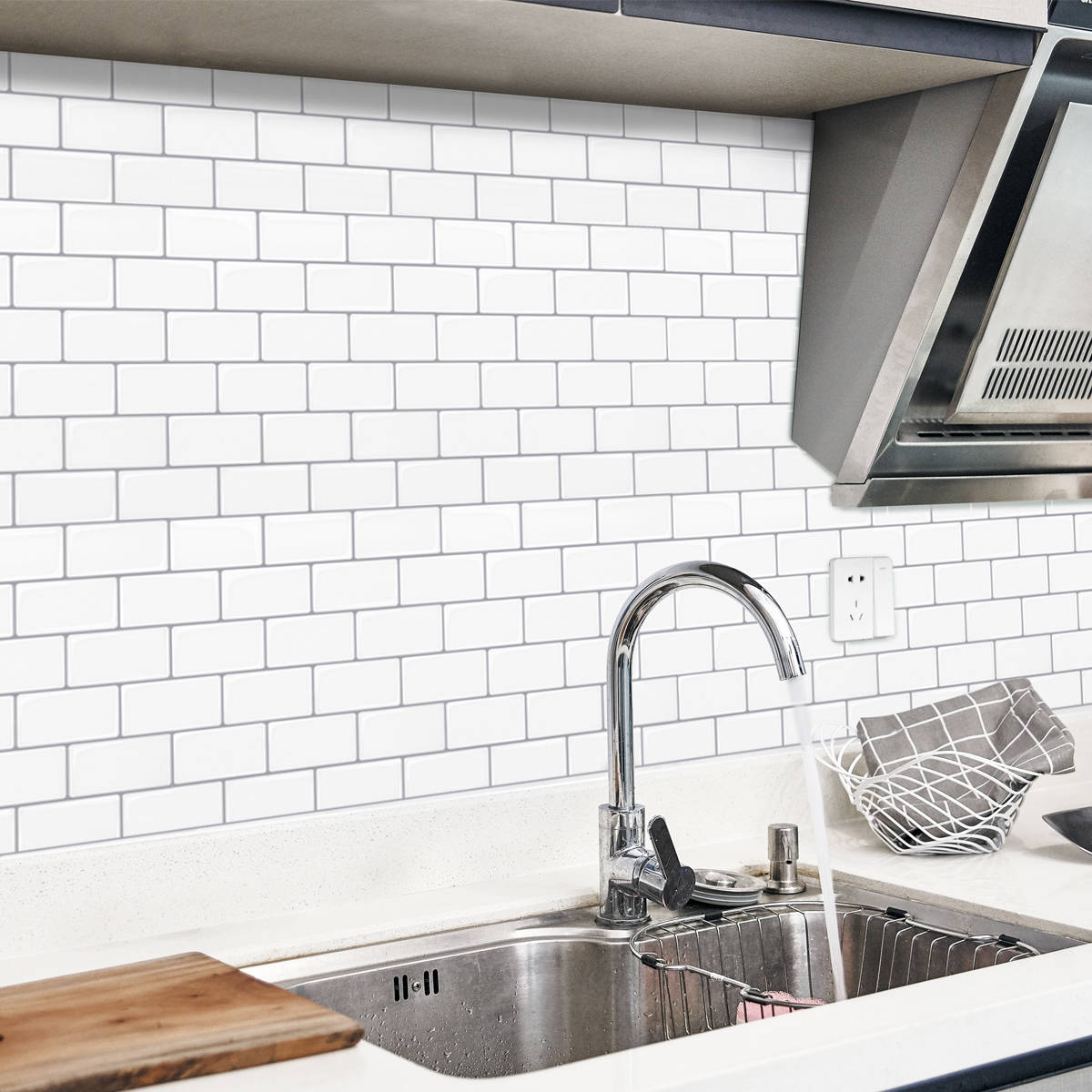 Peel-and-stick tiles come is many color and style options. This subway tile looks so much like ...