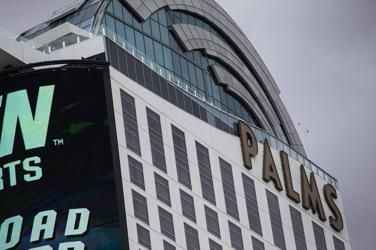 An exterior view of the Palms in Las Vegas on Monday, April 26, 2021. (Chase Stevens/Las Vegas ...