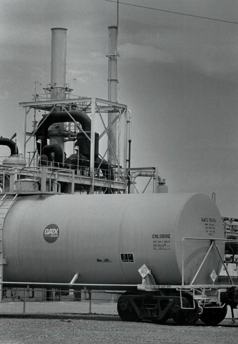 A view of the Pioneer Chlor Alkali Co. on May 6, 1991, in Henderson. (Jim Laurie/Las Vegas Revi ...