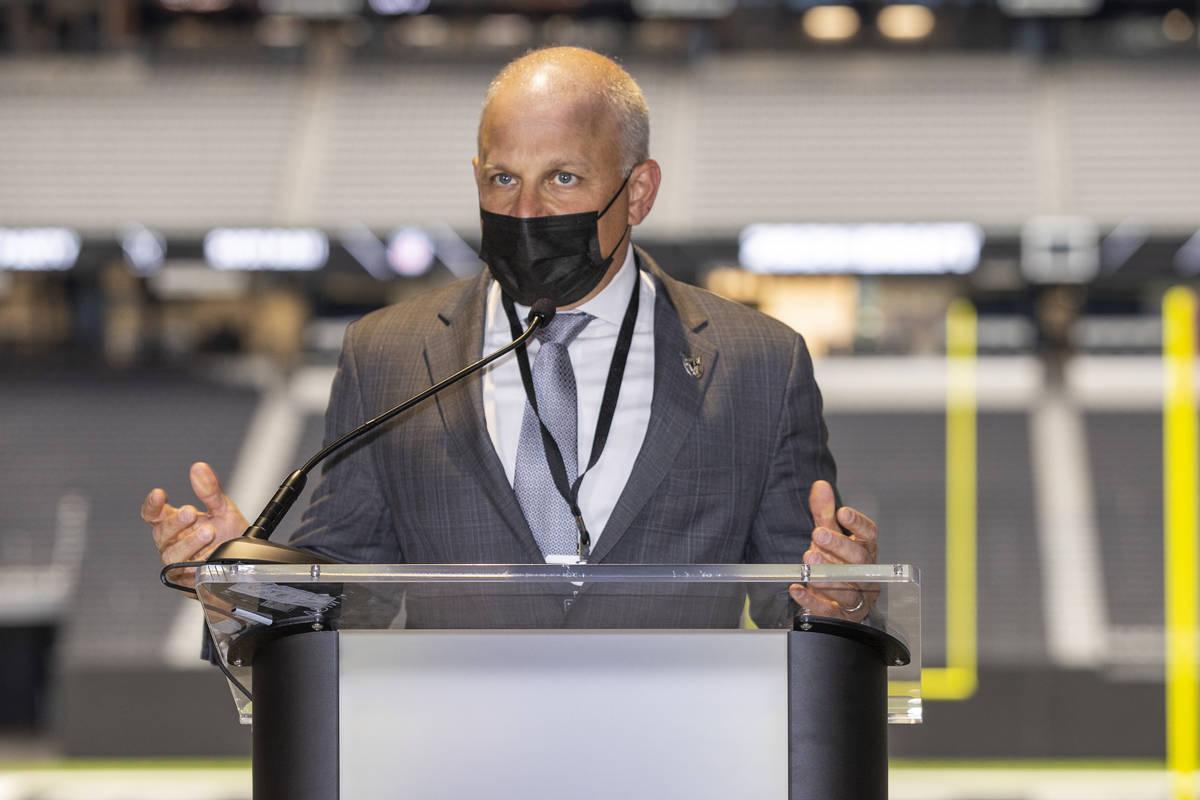 Raiders president Marc Badain addresses the media during the 2021 Las Vegas Raiders NFL Draft P ...