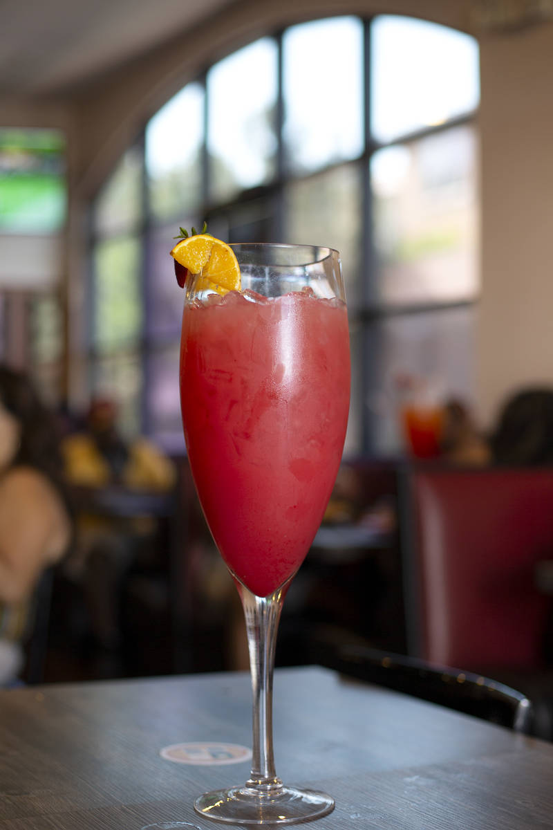 The strawberry lychee Super Mimosa at the Mimosas Gourmet location on South Durango Drive on Sa ...