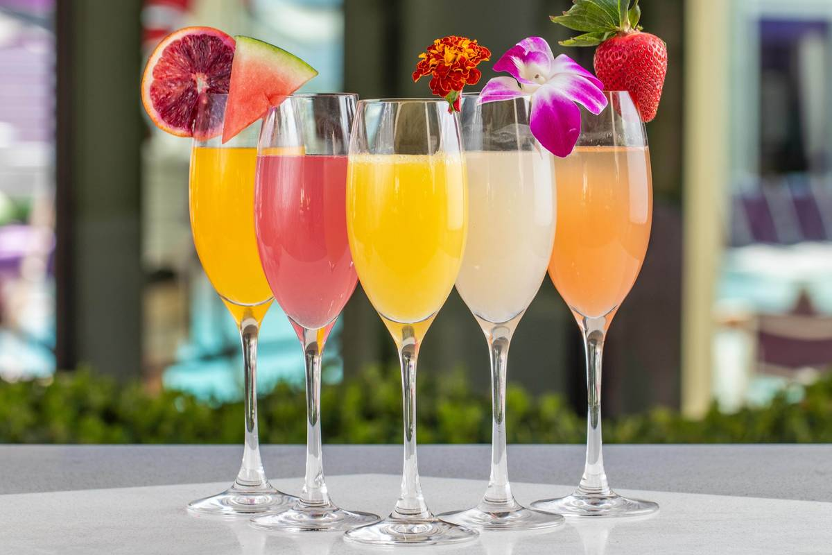 Various flavors of mimosas are available at the Overlook Grill at The Cosmopolitan of Las Vegas ...