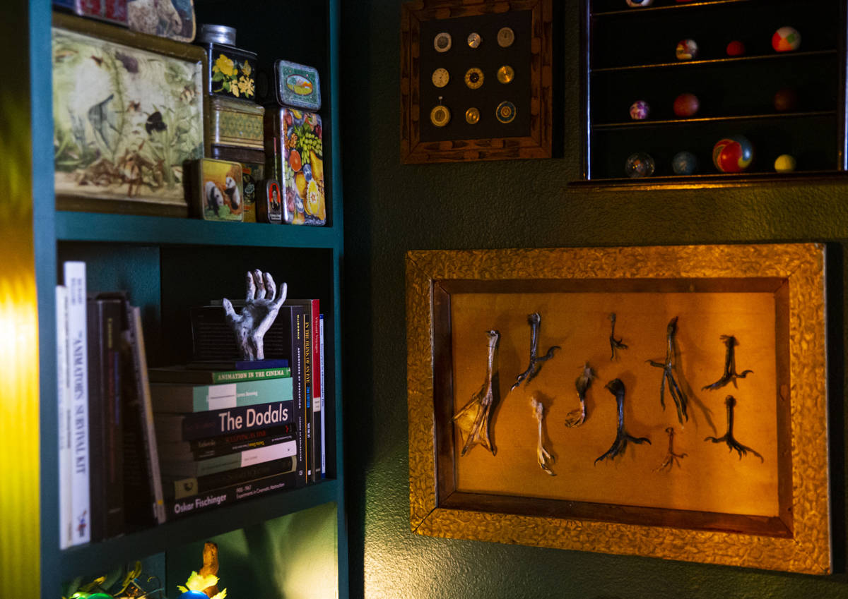 A collection of dead bird feet is displayed at the Office of Collecting & Design, a museum ...