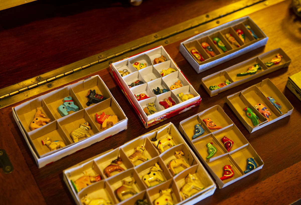 Miniature animal figurines are displayed at the Office of Collecting & Design, a museum and ...