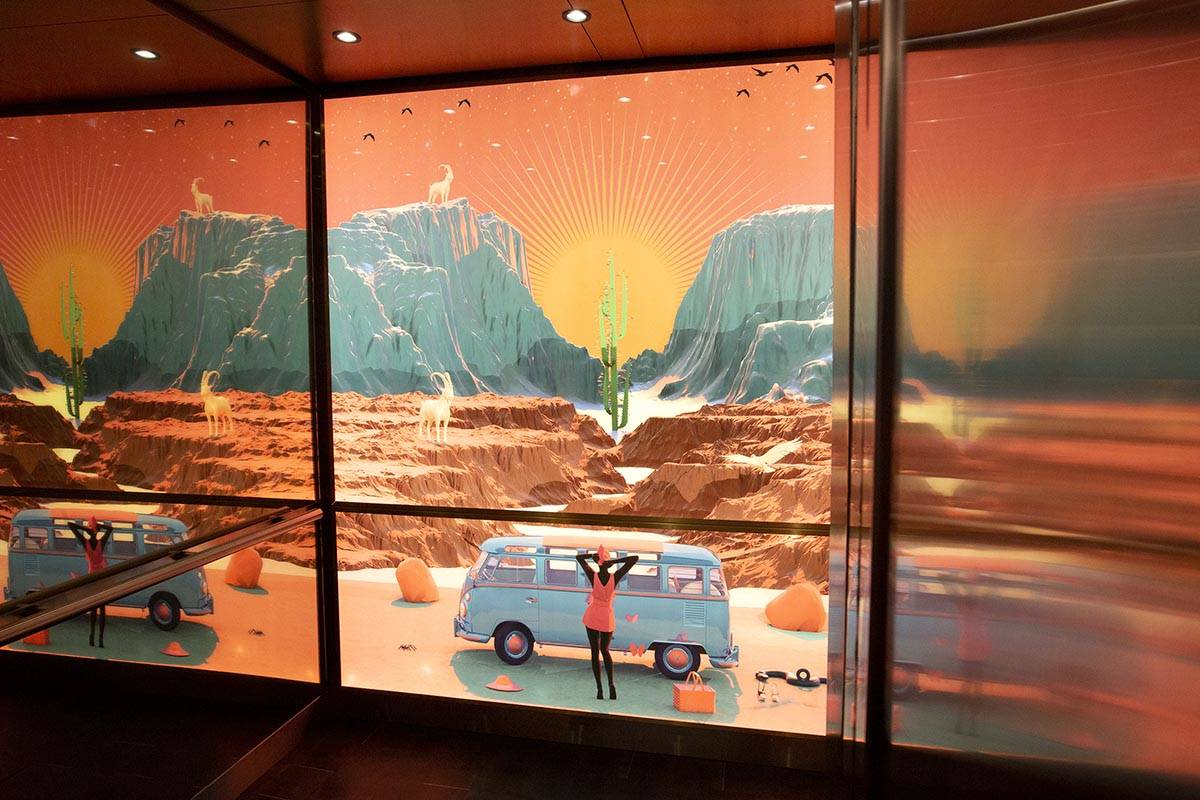 An elevator features southwest-themed art at Virgin Hotels Las Vegas on Friday, April 30, 2021, ...
